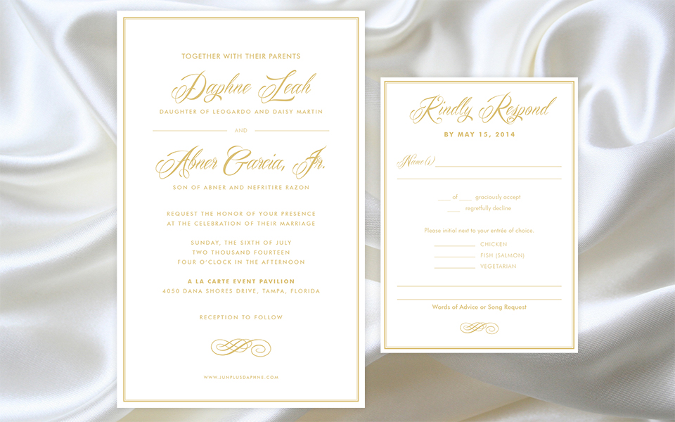 daphne jun invitation silk background - White And Gold Wedding Invitations